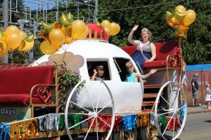 Winlock Egg Days princess makes her way through town on an egg float during the annual parade held on Saturday.